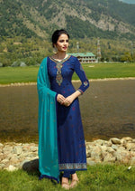 Blue & Firozi Georgette Embroidered Churidar Suit