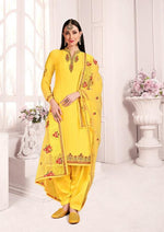 Yellow Satin Georgette Embroidered Salwar Suit