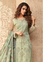 Sea Green Floral NEt Embroidered Bangalori Silk Pant Suit