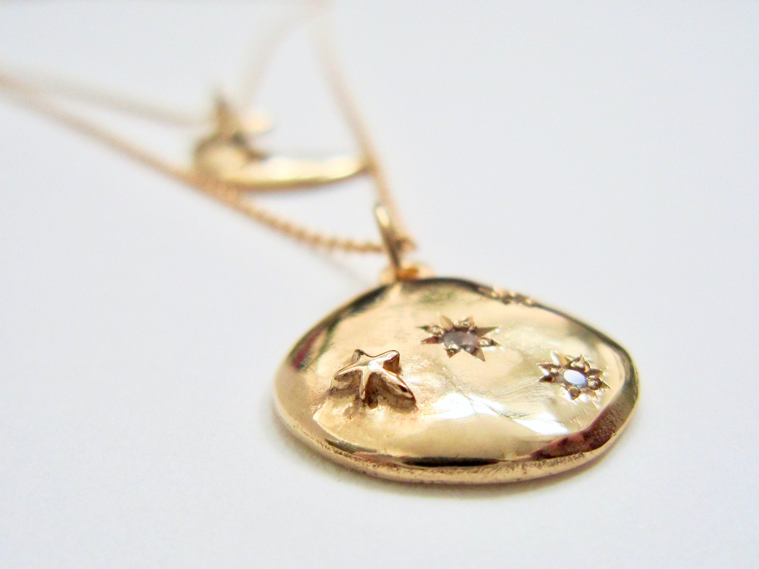 14K Gold Eclipse Necklace - Amanda Schoppel Art & Wax Carving