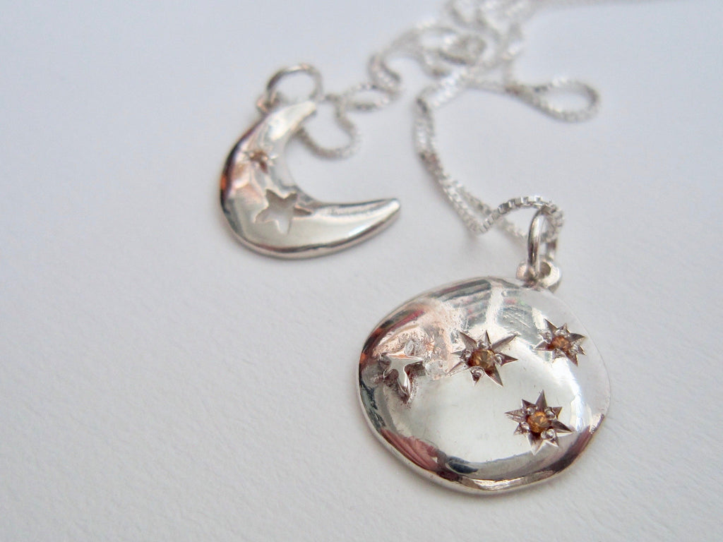 Silver Eclipse Necklace - Amanda Schoppel Art & Wax Carving