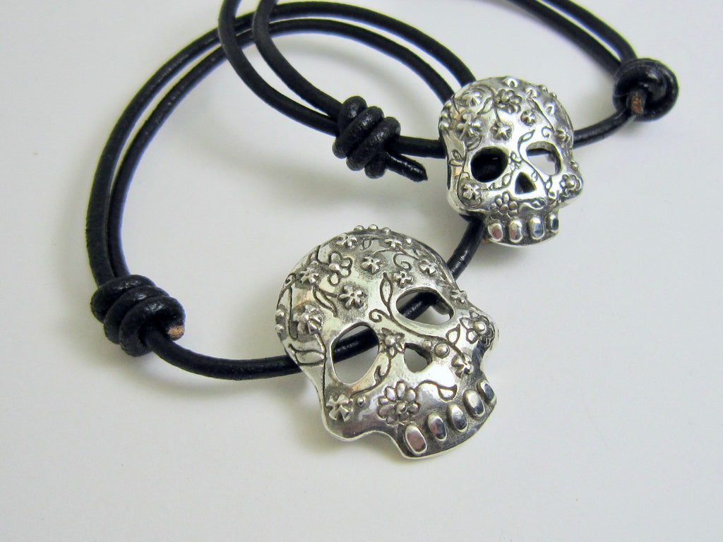 Adjustable Sugar Skull Bracelet - Amanda Schoppel Art & Wax Carving