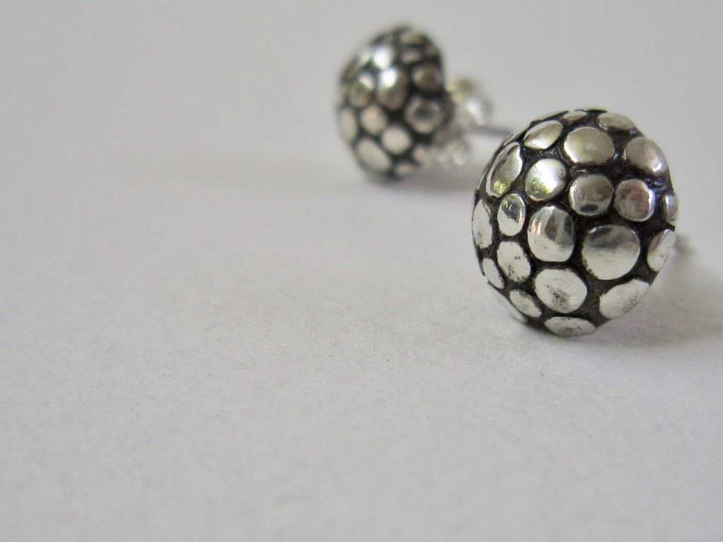 Polka Dot Stud Earrings - Amanda Schoppel Art & Wax Carving