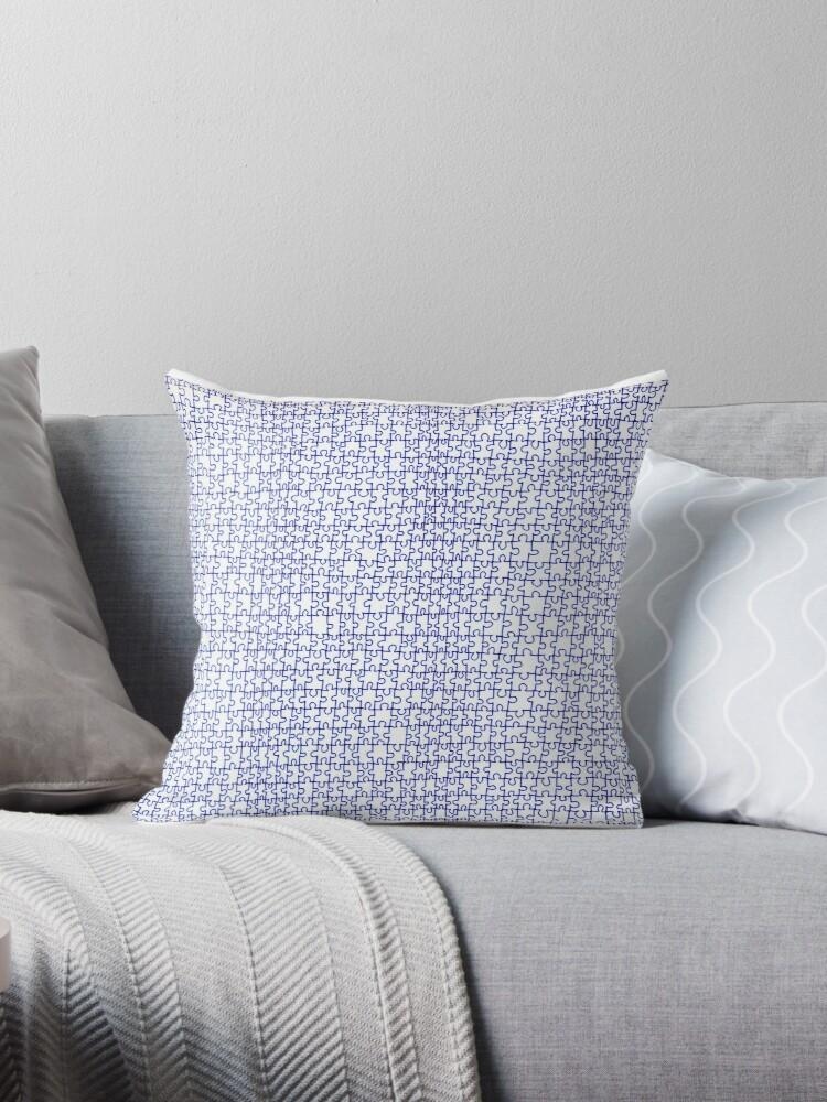 Puzzle Drawing Throw Pillow - Amanda Schoppel Art & Wax Carving
