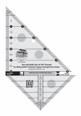 Creative Grids Multi Size Triangle 45 and 90 Degrees Quilt Ruler - The Sewing Gallery