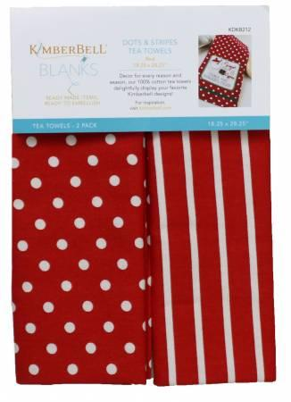 KD Dot&Stripes Tea Towels/Red - The Sewing Gallery