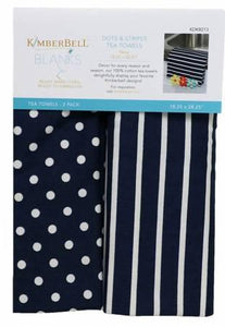 KD Dots&Stripes Navy Towels - The Sewing Gallery