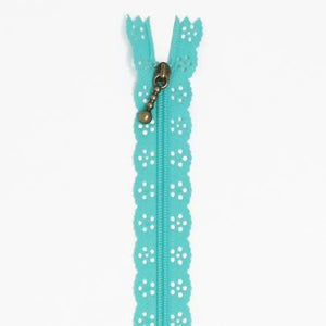 "Lace Zip Robins Egg Blue 14"" - The Sewing Gallery"
