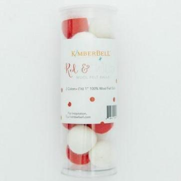 Wool Felt Balls (Red & White) - The Sewing Gallery