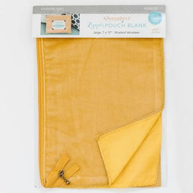 Zipper Pouch Blank Mustard Velveteen Large - The Sewing Gallery