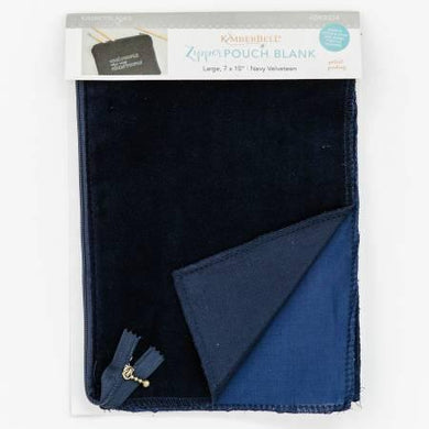 Zipper Pouch Blank Navy Velveteen Large - The Sewing Gallery