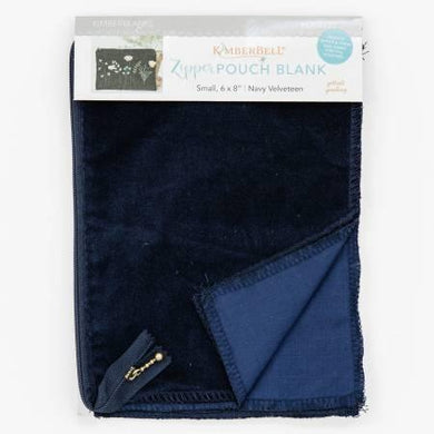 Zipper Pouch Blank Navy Velveteen Small - The Sewing Gallery