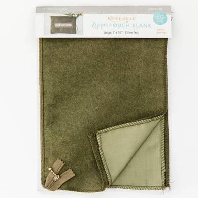 Zipper Pouch Blank Olive Felt Large - The Sewing Gallery