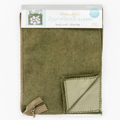 Zipper Pouch Blank Olive Felt Small - The Sewing Gallery