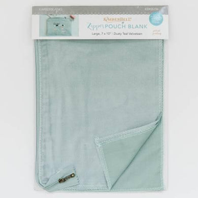 Zipper Pouch Blank Teal Velveteen Large - The Sewing Gallery