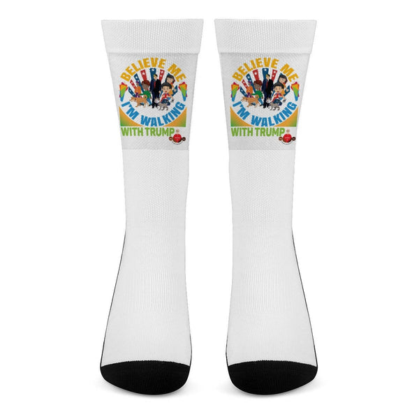 Believe Me I'm Walking With Trump- Part Design All Over Print Crew Socks - BelieveInMeBelieveInYou