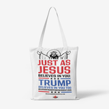 Jesus and Trump Heavy Duty and Strong Natural Canvas Tote Bags - BelieveInMeBelieveInYou