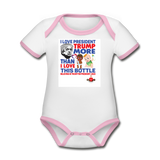 Trump Instead Of The Baby Bottle  Organic Contrast Short Sleeve Baby Bodysuit - white/pink