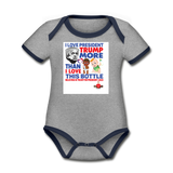 Trump Instead Of The Baby Bottle  Organic Contrast Short Sleeve Baby Bodysuit - heather gray/navy