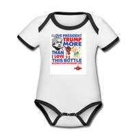 Trump Instead Of The Baby Bottle  Organic Contrast Short Sleeve Baby Bodysuit - white/black