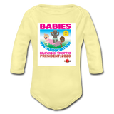 Ytump Baby Pac Association  Organic Long Sleeve Baby Bodysuit - washed yellow