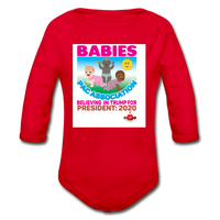 Ytump Baby Pac Association  Organic Long Sleeve Baby Bodysuit - red