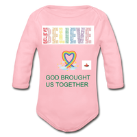 Believe God Brought Us Together Organic Long Sleeve Baby Bodysuit - light pink