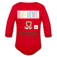 Believe God Brought Us Together Organic Long Sleeve Baby Bodysuit - red