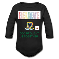Believe God Brought Us Together Organic Long Sleeve Baby Bodysuit - black