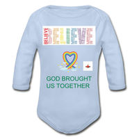 Believe God Brought Us Together Organic Long Sleeve Baby Bodysuit - sky