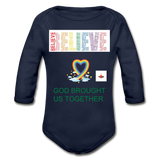 Believe God Brought Us Together Organic Long Sleeve Baby Bodysuit - dark navy