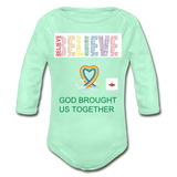 Believe God Brought Us Together Organic Long Sleeve Baby Bodysuit - light mint