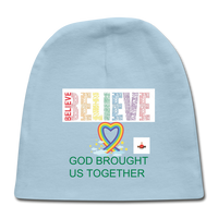 Believe God Brought Us Together Baby Cap - light blue