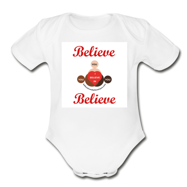BelieveInMeBelieveInYou Organic Short Sleeve Baby Bodysuit - white
