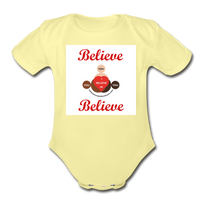 BelieveInMeBelieveInYou Organic Short Sleeve Baby Bodysuit - washed yellow