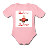 BelieveInMeBelieveInYou Organic Short Sleeve Baby Bodysuit - light pink