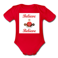 BelieveInMeBelieveInYou Organic Short Sleeve Baby Bodysuit - red