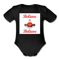 BelieveInMeBelieveInYou Organic Short Sleeve Baby Bodysuit - black