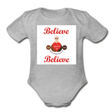 BelieveInMeBelieveInYou Organic Short Sleeve Baby Bodysuit - heather gray