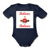 BelieveInMeBelieveInYou Organic Short Sleeve Baby Bodysuit - dark navy