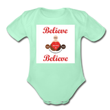 BelieveInMeBelieveInYou Organic Short Sleeve Baby Bodysuit - light mint