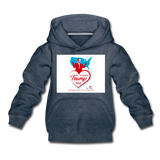 Trump Loves Ameica And You Kids' Premium Hoodie - heather denim