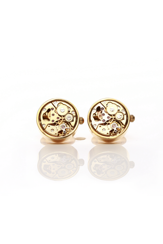 GOLD WATCH MECHANISM CUFF LINKS