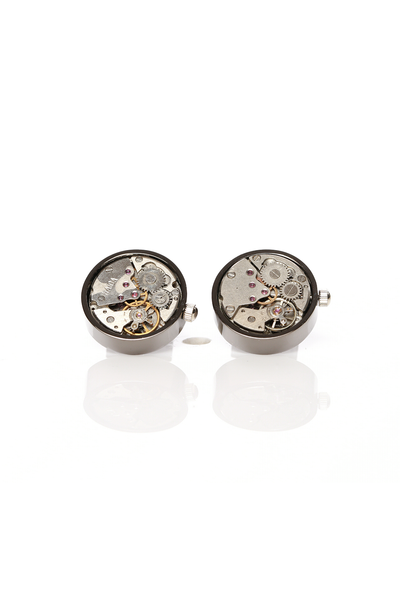 GUN METAL WATCH MECHANISM CUFF LINKS