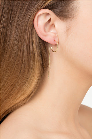 GOLD NEEDLE & THREAD HOOP EARRINGS
