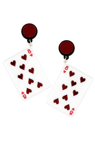 PLAY YOUR CARDS RIGHT WHITE EARRINGS