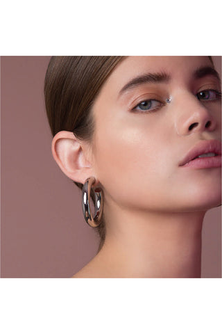SILVER CHUNKY HOOPS EARRINGS