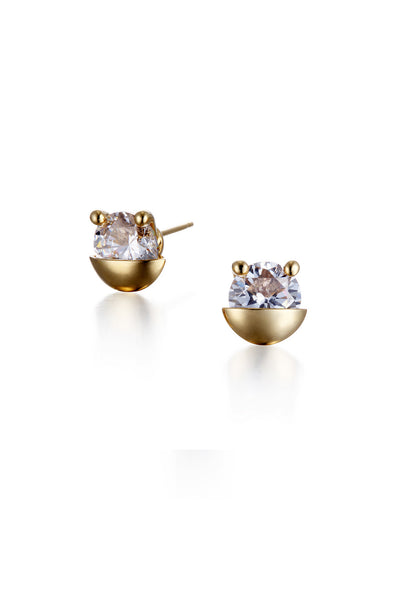 YELLOW GOLD POCKET CRYSTAL EARRINGS