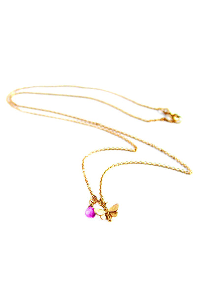 GOLD TINY BUTTERFLY + RHODOLITE NECKLACE