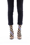 BLACK AND BLUE DOT FLOCKED SOCKS